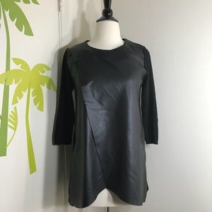 New Zara Knit Black Front Leather Top Size Small